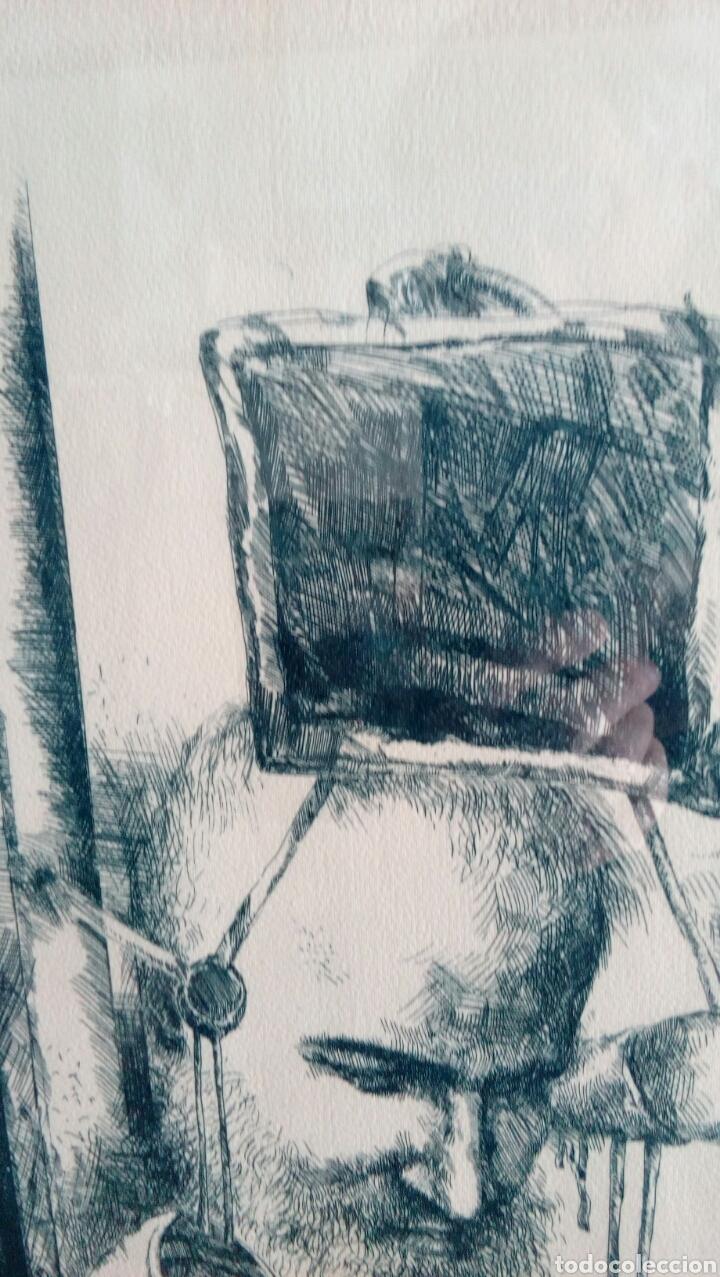 Arte: Grabado punta seca de Luis Sáez, Homenaje a Millares, firmado y numerado 7 de 15 - Foto 8 - 109256299