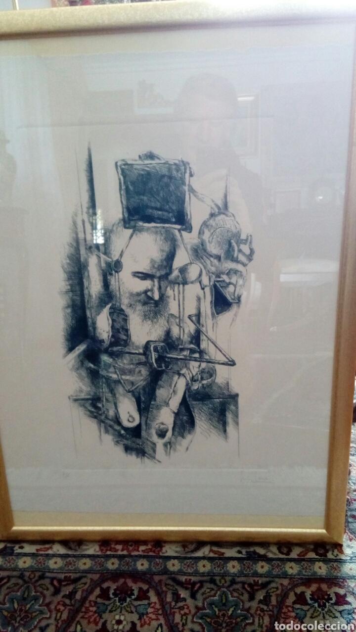 Arte: Grabado punta seca de Luis Sáez, Homenaje a Millares, firmado y numerado 7 de 15 - Foto 9 - 109256299