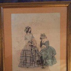 Arte: GRABADO DE DAMAS EN PARÍS, FECHADO EN DIA 23 DE JULIO DE 1842, 20X25CMS. Lote 109298979