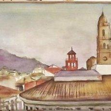 Arte: CATEDRAL DE MALAGA. ACUARELA SOBRE MADERA ESTUCADA.. Lote 109421355