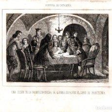 Arte: GRABADO ORIGINAL SIGLO XIX,GUERRA SUCESION CATALUÑA REUNION DE GUERRA EN EL SITIO DE BARCELONA. Lote 109486391