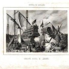 Arte: GRABADO ORIGINAL,SIGLO XIX,BATALLA-COMBATE NAVAL DE LEPANTO,GALERAS AL ABORDAJE.. Lote 109488667
