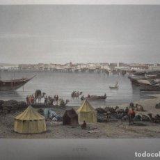 Arte: VISTA PANORÁMICA DEL CANAL DE SUEZ (EGIPTO, ÁFRICA), 1850. I. HILDBURGHASEN. Lote 109812807