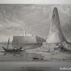 Art: VISTA DE LA FORTALEZA DE BORDJ EL KEBIR (DJERBA, TÚNEZ, ÁFRICA)), 1850. THOMAS ALLOM. Lote 109813359