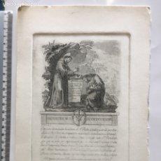 Arte: GRABADO FINALES S. XIX. BENDICIÓN D. S. FRANCISCO DE ASSIS. Lote 109815778