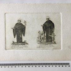 Arte: GRABADO FINALES S. XIX. EL B. GERONIMO DE RECANATE/ EL B. VGOLINO DE CORTONA. Lote 109817696