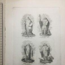 Arte: GRABADO FINALES S. XIX. S. BERNARDO ABAD / S. BENITO ABAD / STA. ESCOLÁSTICA Y STA. .... Lote 110000152
