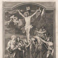 Arte: GRABADO PLANCHA COBRE DE 1760, MUERTE DE JESUCRISTO EN LA CRUZ, JOHANN JAKOB SARTOR, INFOLIO, XVIII. Lote 110185995