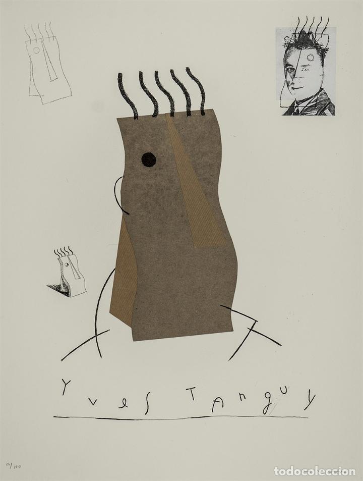 FERNANDO BELLVER IVES TANGUY AGUAFUERTE CON COLLAGE ORIGINAL FIRMADO Y NUMERADO 10/100 DADAÍSTAS (Arte - Grabados - Contemporáneos siglo XX)