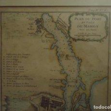 Arte: GRABADO FRANCÉS ORIGINAL PUERTO Y VILLA DE MAHÓN , MENORCA HACIA 1750/60. Lote 110535575