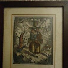 Arte: GRABADO AGUAFUERTE COLOREADO MUJER DE MENORCA CON NIÑO. 27X31 CMS.. Lote 110539099