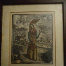 Arte: GRABADO AGUAFUERTE COLOREADO MUJER DE MENORCA CON PARAGUAS. 27X31 CMS.. Lote 110539175