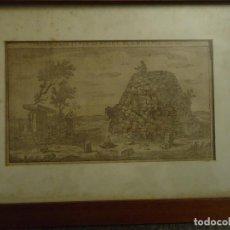 Arte: ANTIGUO GRABADO INGLÉS S.XVIII NAVETA Y TALAIOTS, MENORCA. Lote 110539975