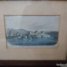Arte: GRABADO INGLÉS 1814 QUARANTINE ISLAND. PORT MAHÓN MENORCA. Lote 110614591