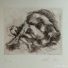Arte: GRABADO DE ESTRELLA VACA, MUJER: DESPERTARES. FIRMADO A LÁPIZ. ENMARCADO. Lote 111009975