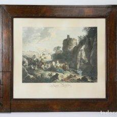 Arte: ANTIGUO GRABADO DEL S. XIX ENMARCADO - L'APRÈS MIDI - GRABADO POR R DAUDET / PINT. C.W.E. DIETRICY. Lote 111095251