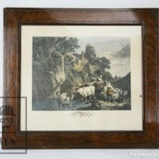 Arte: ANTIGUO GRABADO DEL S. XIX ENMARCADO - LE MATIN - GRABADO POR H. GUTTENBER / PINT. C.W.E. DIETRICY. Lote 111096479
