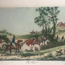Arte: GRABADO ILUMINADO - LA CHASSE - VERNET - JEAN PIERRE MARIE JAZET - S.XIX. Lote 111846103
