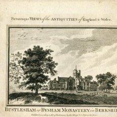 Arte: BUSTLESHAM OR BYSHAM MONASTERY IN BERKSHIRE GRABADO POR ALEXANDER HOGG.. Lote 111994815