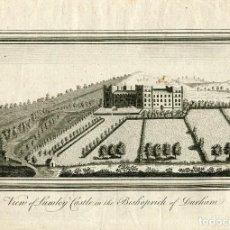 Arte: VIEW OF LUMLEY CASTLE IN THE BISHOPRICK OF DURHAM GRABADO DE FINALES DEL SIGLO XVIII. Lote 111996639