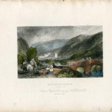Arte: RIELVAUX ABBEY , YORKSHIRE GRABADO POR J.C. BENTLEY DE UN DIBUJO ORIGINAL DE WILLIAM TURNER. Lote 111996875