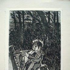 Arte: JORDI CUROS GRABADO 30 X 20 CM. PROVA D'ARTISTA. AUCA D'EN CURÓS. FIRMADO Y FECHADO 1974.. Lote 112025539