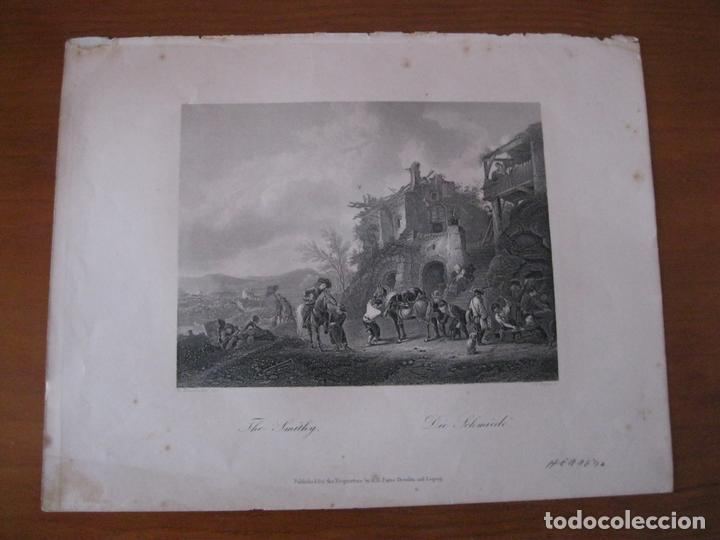 Arte: El herrero y su taller, 1890. Anónimo - Foto 2 - 112183223