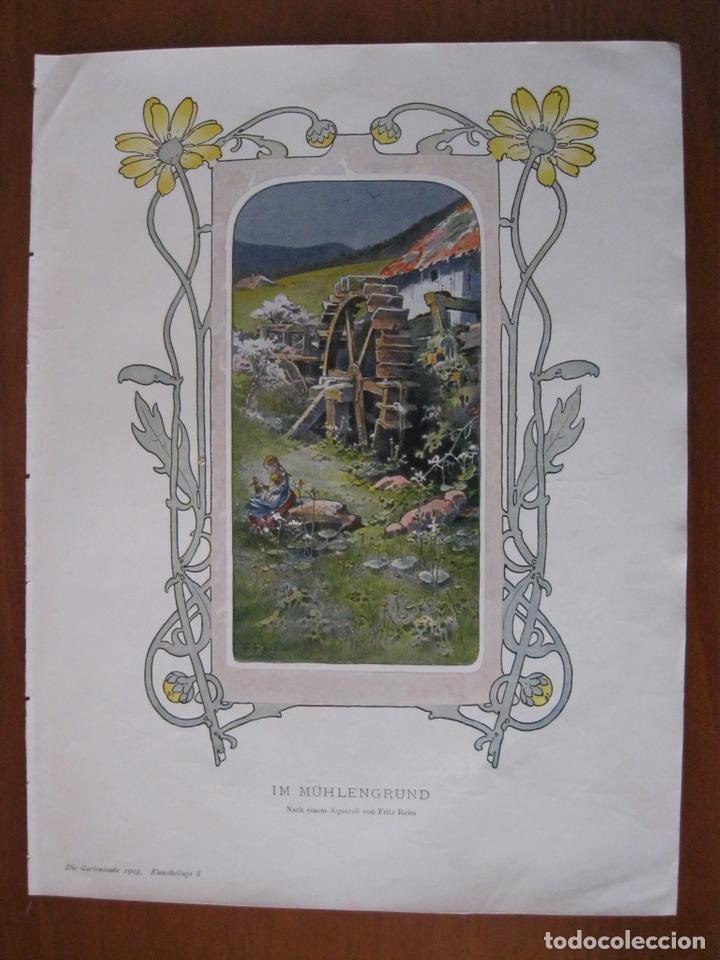 NIÑA EN EL MOLINO, 1903. ANÓNIMO (Arte - Grabados - Contemporáneos siglo XX)