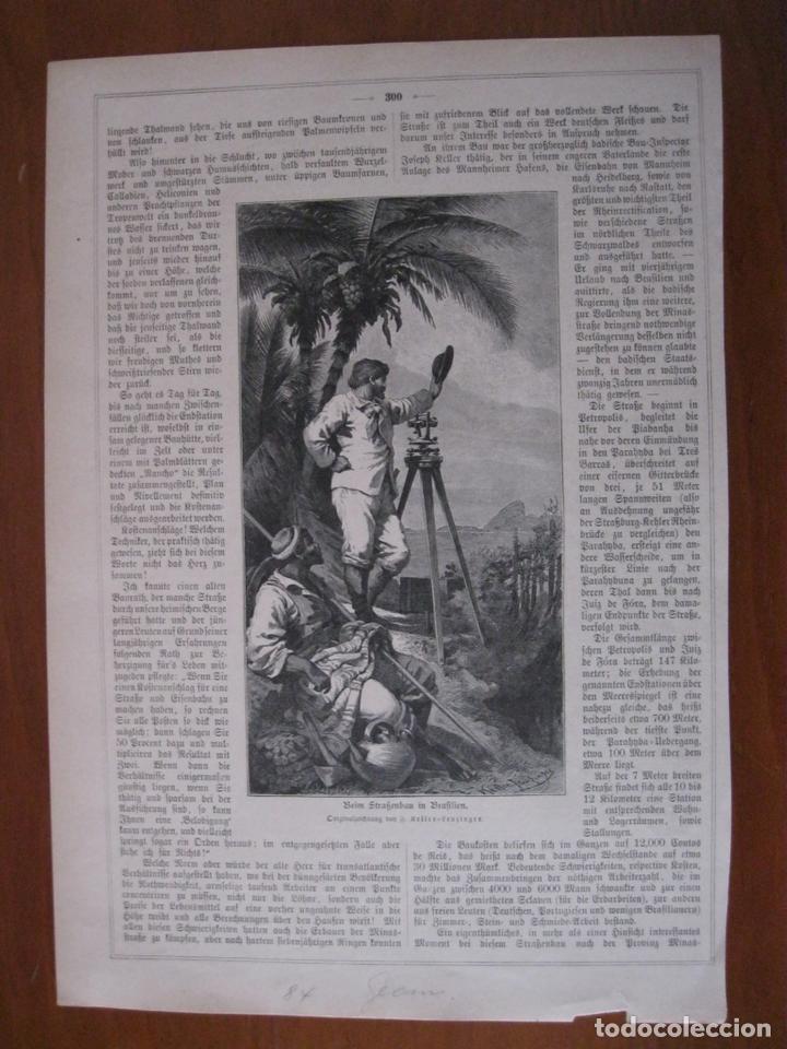 TOPÓGRAFOS Y COLONOS EN BRASIL (AMÉRICA DEL SUR), 1884. ANÓNIMO (Arte - Grabados - Modernos siglo XIX)