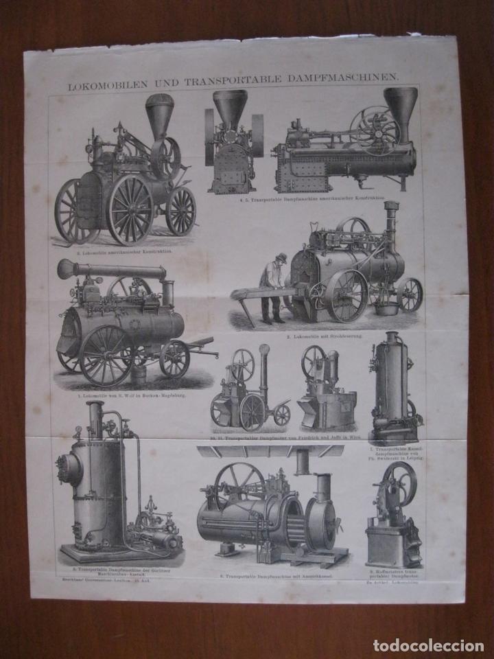 MODELOS DE LOCOMOTORAS ALEMANAS, 1885. ANÓNIMO (Arte - Grabados - Modernos siglo XIX)