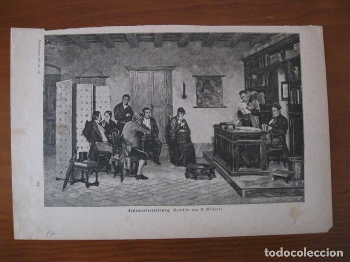 LECTURA DE UN TESTAMENTO,1887. ANÓNIMO (Arte - Grabados - Modernos siglo XIX)