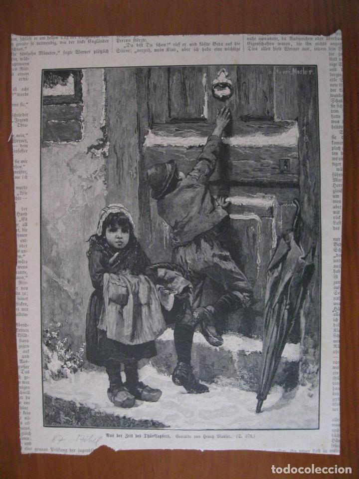 NIÑOS LLAMANDO A LA PUERTA, 1887. ANÓNIMO (Arte - Grabados - Modernos siglo XIX)