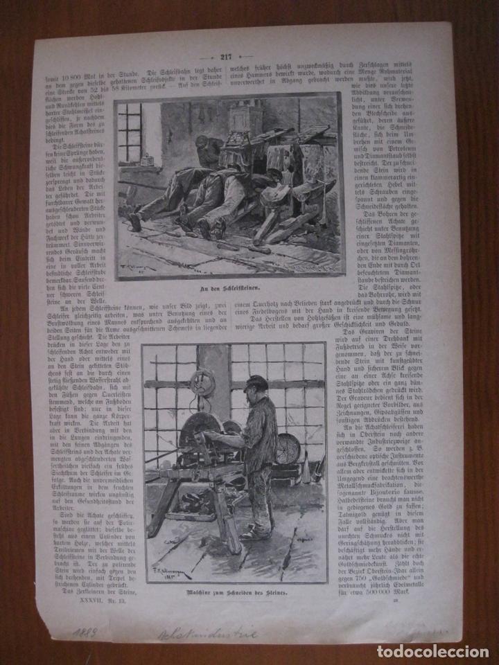 TRABAJOS CON PIEDRAS PRECIOSAS, 1889. ANÓNIMO. (Arte - Grabados - Modernos siglo XIX)
