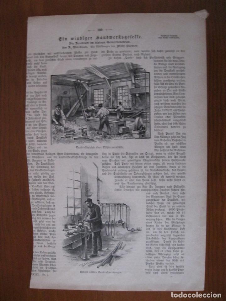 EL TALLER DE EBANISTERÍA Y DE COSTURA, 1891. ANÓNIMO. (Arte - Grabados - Modernos siglo XIX)