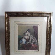 Arte: GRABADO ILUMINADO SIGLO XIX, MADRE CON HIJOS, POR J. THOMSON E.T. PARIS. MED. MARCO 44X39 CM.. Lote 112300307