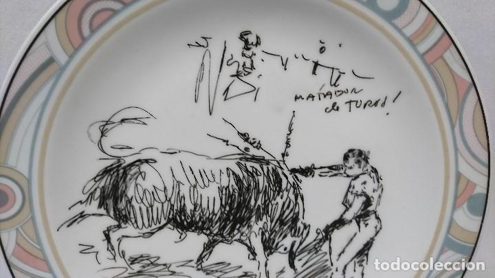 Arte: PLATO DE PORCELANA GRABADO TOROS, LÓPEZ CANITO, BURGOS 94, - Foto 3 - 112345579