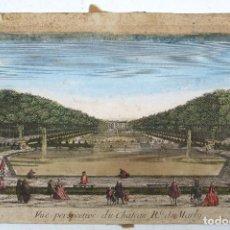 Arte: CHATEAU DE MARLY, CASTILLO DE MARLY. VISTA ÓPTICA ILUMINADA S.XVIII. 28X44 CM.. Lote 112606519