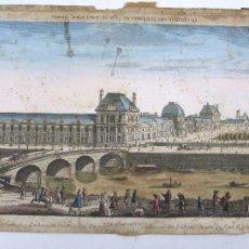Arte: CHATEAU DES TULLERIES, PARIS. VISTA ÓPTICA ILUMINADA S.XVIII. 30X43 CM.. Lote 112606667