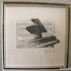 Arte: PIANOS,PAREJA DE GRABADOS HUELLA 7X6 APROX.FIMA Y SERIADOS. I Y III,PASPARTU Y MARCO 31,5X31,5. Lote 112708039