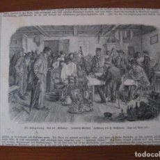 Arte: REUNIÓN Y HOMBRES EN BOSQUE NEVADO, 1900. ANÓNIMO. Lote 112790031