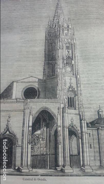 EXCEPCIONAL GRABADO 1845. ORIGINAL. CATEDRAL DE OVIEDO. 25 X 25 CM. DIFICILISIMO. EL LABERINTO (Arte - Grabados - Modernos siglo XIX)