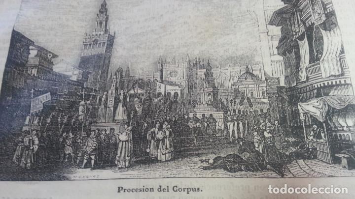 EXCEPCIONAL GRABADO 1845. ORIGINAL. PROCESION CORPUS SEVILLA. 20 X 12 CM. DIFICILISIMO. EL LABERINTO (Arte - Grabados - Modernos siglo XIX)