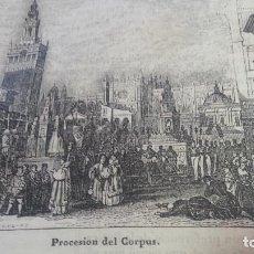 Arte: EXCEPCIONAL GRABADO 1845. ORIGINAL. PROCESION CORPUS SEVILLA. 20 X 12 CM. DIFICILISIMO. EL LABERINTO. Lote 112921915