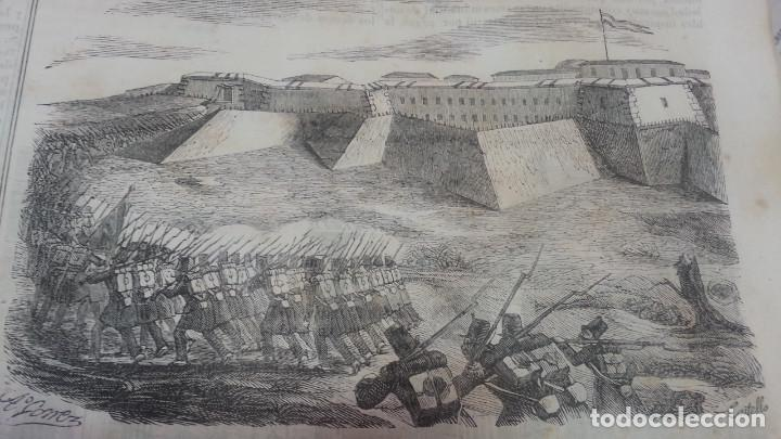 EXCEPCIONAL GRABADO 1844. ORIGINAL. RENDICION DEL CASTILLO DE FIGUERAS. DIFICILISIMO. EL LABERINTO (Arte - Grabados - Modernos siglo XIX)