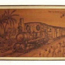 Arte: PIROGRABADO TREN LA PANDEROLA, ADÁN 1971. DIMENSIONES 48 X 33 CON MARCO. Lote 56459488
