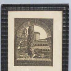 Arte: PRECIOSO GRABADO CLAUSTRO DE SILOS. CASTRO GIL. DEDICADO AL PINTOR JULIAN NADAL. Lote 113205367