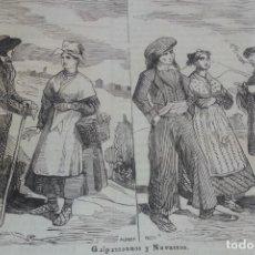 Arte: EXCEPCIONAL GRABADO 1844. ORIGINAL. TIPOS GUIPUZCOANOS Y NAVARROS. DIFICILISIMO. EL LABERINTO. Lote 113536787