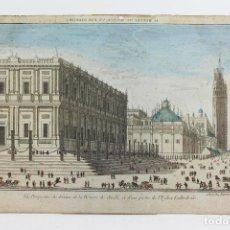 Arte: SEVILLA, VISTA ÓPTICA ILUMINADA, SIGLO XVIII. 27,5X43 CM.. Lote 113555131