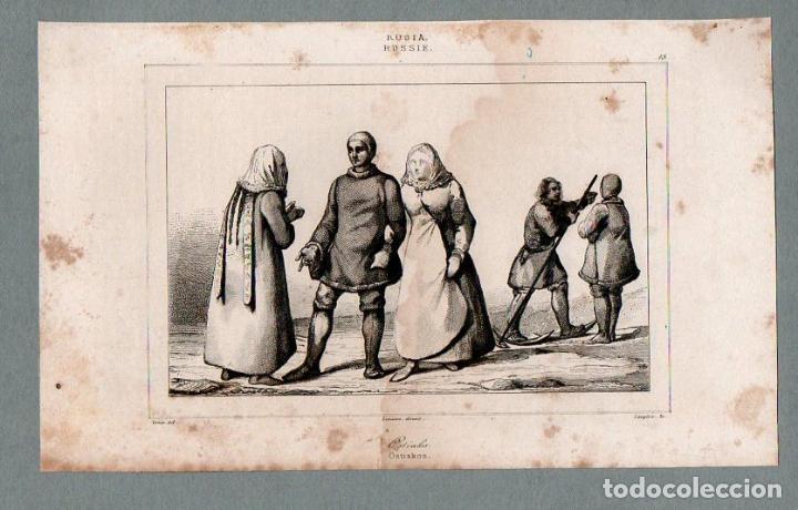 RUSIA - OSTIACOS - GRABADO VERNIER LANGLOIS (Arte - Grabados - Modernos siglo XIX)