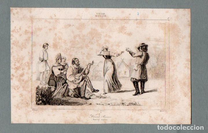 RUSIA - DANZAS - GRABADO LEMAITRE VERNIER MONNIN (Arte - Grabados - Modernos siglo XIX)
